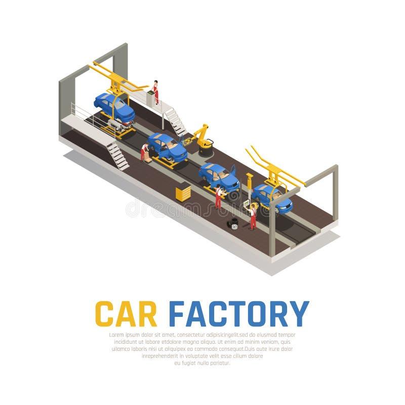 De Isometrische Samenstelling van de autofabriek vector illustratie