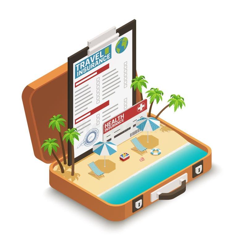 De Isometrische Samenstelling van de reisVerzekeringspolis stock illustratie