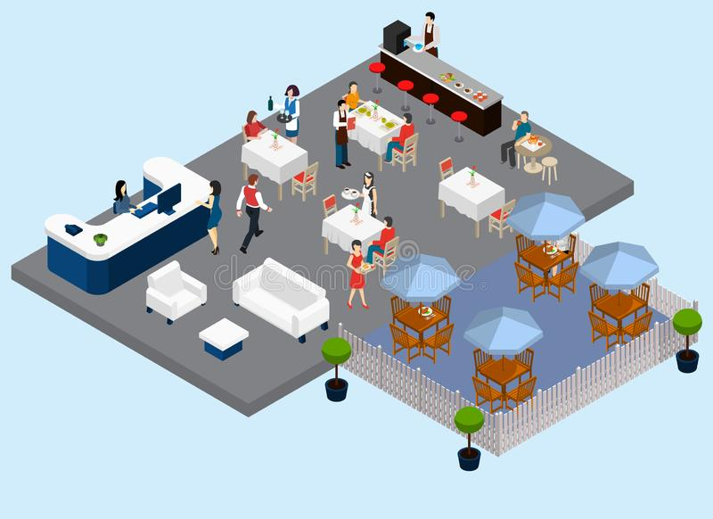 De Isometrische Samenstelling van de restaurantdienst vector illustratie