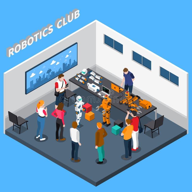 De Isometrische Samenstelling van de roboticaclub royalty-vrije illustratie
