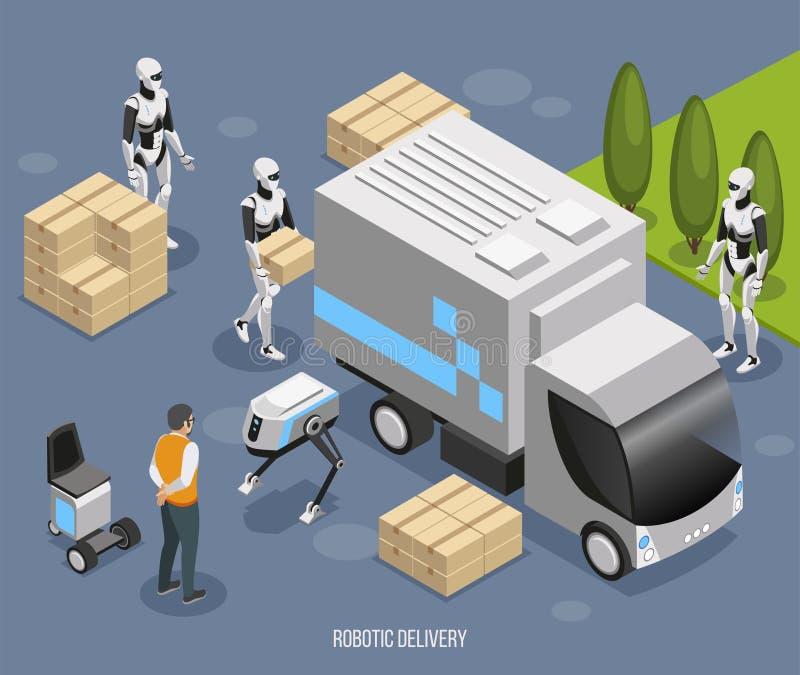 De Isometrische Samenstelling van de robotlevering stock illustratie