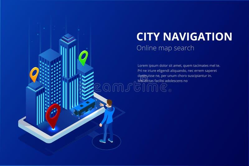 De isometrische satellietnavigatie van GPS Webbanner voor reis, toerisme en plaatsroute planning Smartphone met stock illustratie