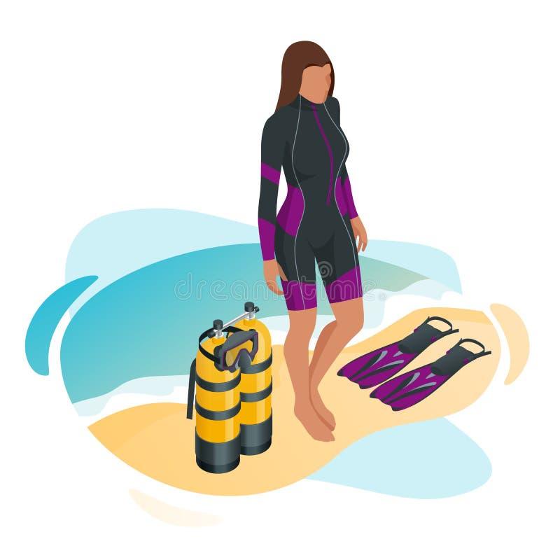 De isometrische Scuba-duiker nadat de duikvlucht is beached Het Materiaal die van het vrouwenvrij duiken Strand van Vakantie geni vector illustratie