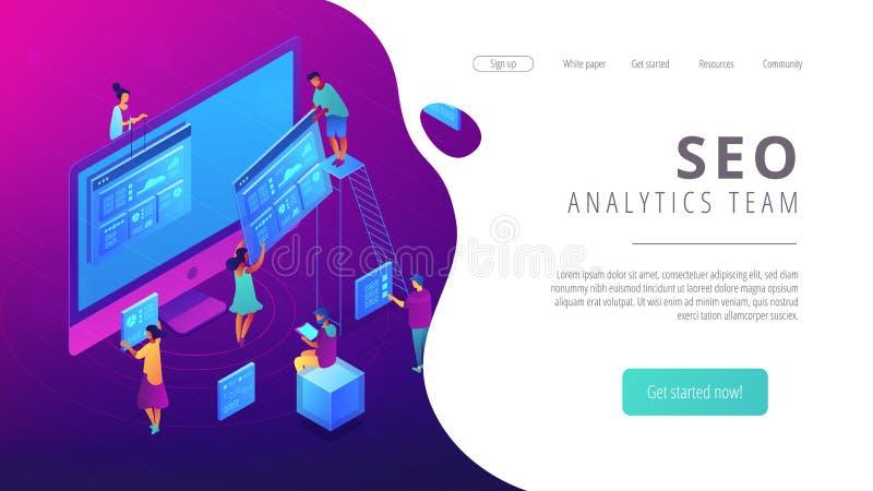 De isometrische SEO-landende pagina van het analyticsteam royalty-vrije illustratie