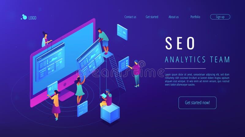 De isometrische SEO-landende pagina van het analyticsteam stock illustratie