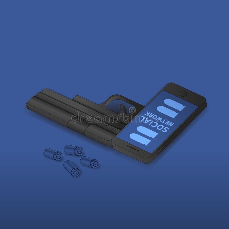 De isometrische Smartphone-zwarte kleur van het kanonwapen, Cyber-misdaad in het sociale idee van het netwerkconcept op blauwe gr stock illustratie