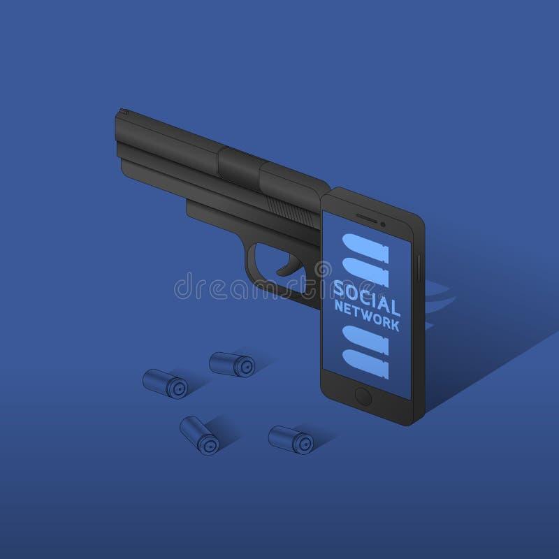 De isometrische Smartphone-zwarte kleur van het kanonwapen, Cyber-misdaad in het sociale idee van het netwerkconcept op blauwe gr vector illustratie