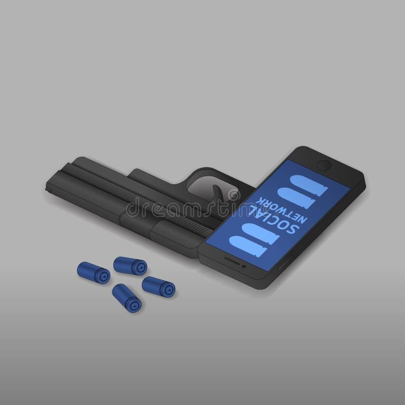De isometrische Smartphone-zwarte kleur van het kanonwapen, Cyber-misdaad in het sociale idee van het netwerkconcept op grijze gr royalty-vrije illustratie