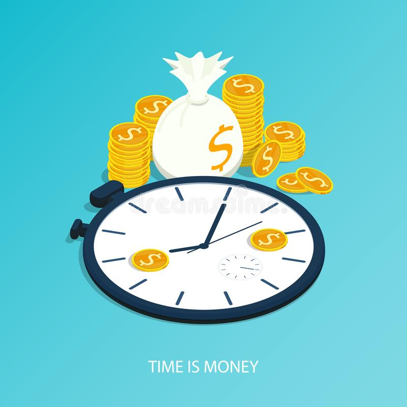 De isometrische tijd is geld, van de van het bedrijfs tijdbeheer het muntstukvector klok gouden stapel stock illustratie