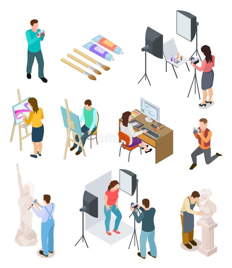 De isometrische van de de studio artistieke foto van kunstenaarsArt van het beeldhouwwerkkunstenaars van het de beeldhouwer schil royalty-vrije illustratie