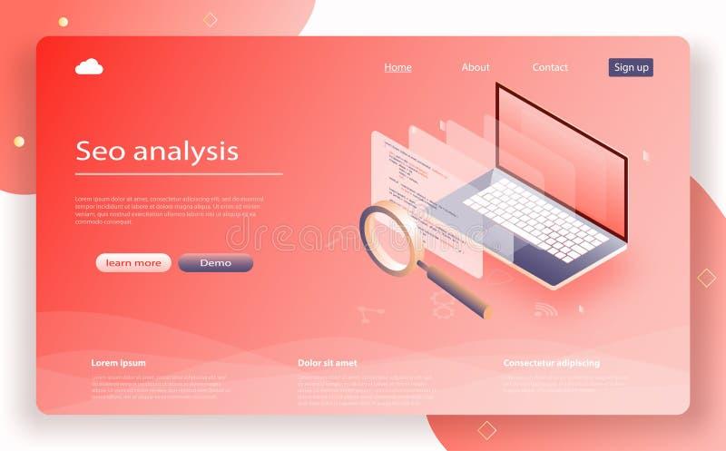 De isometrische vector van gegevensanalytics SEO Analysis voor banner en website Zoekengegevens controle stock illustratie