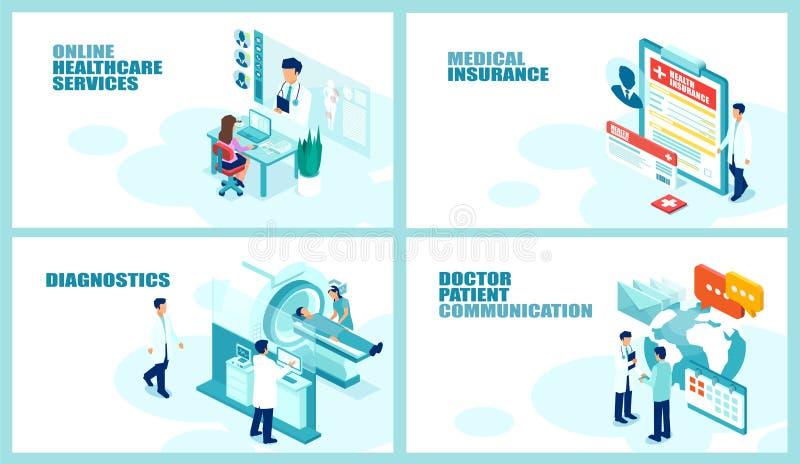 De isometrische vectorcollage plaatste voor de online medische diensten, gezondheidszorgverzekering, weergavediagnostiek en artse royalty-vrije illustratie