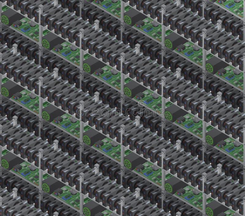 De isometrische vectorcrypto muntmijnbouw bewerkt naadloos patroon royalty-vrije illustratie