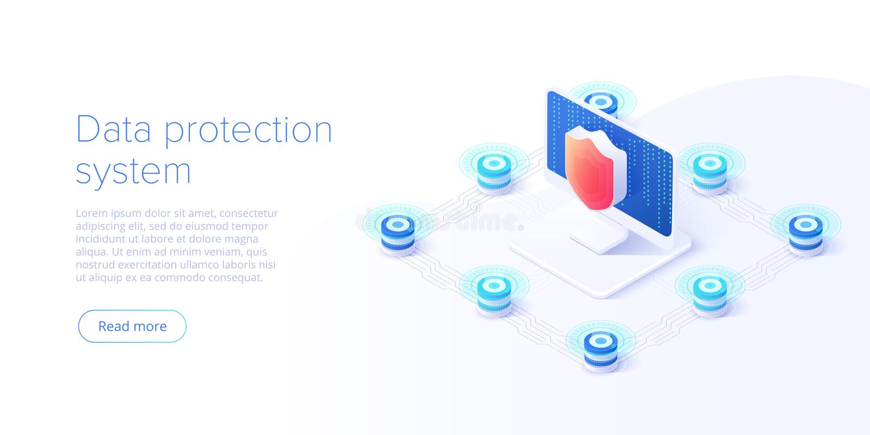 De isometrische vectorillustratie van de netwerkgegevensbeveiliging Online het systeemconcept van de serverbescherming met datace stock illustratie