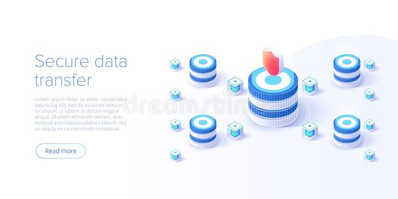 De isometrische vectorillustratie van de netwerkgegevensbeveiliging Online het systeemconcept van de serverbescherming met datace vector illustratie