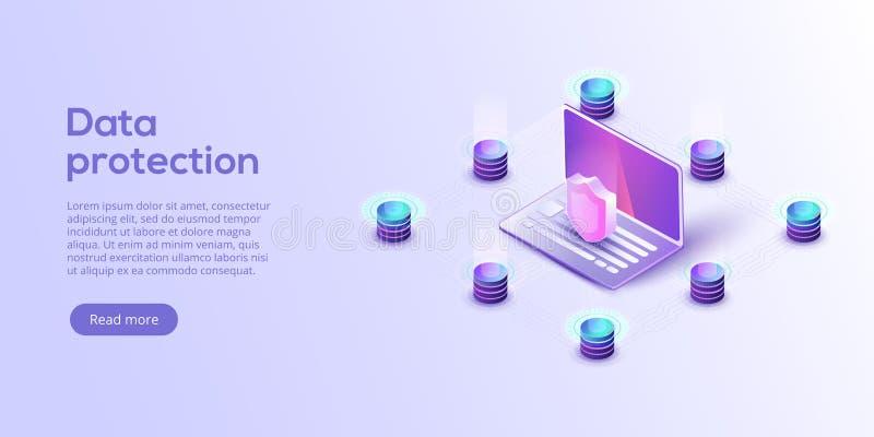 De isometrische vectorillustratie van de netwerkgegevensbeveiliging Online serv stock illustratie