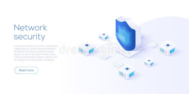 De isometrische vectorillustratie van de netwerkgegevensbeveiliging Online serv royalty-vrije illustratie