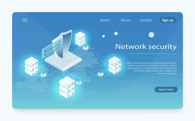 De isometrische vectorillustratie van de netwerkgegevensbeveiliging Wolkendatacentrum, het pictogram van de serverruimte, de verw vector illustratie