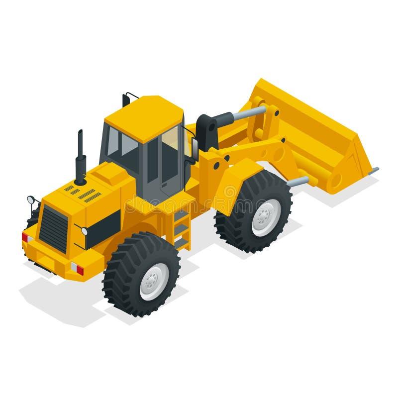 De isometrische Vectortractor van de illustratie gele die bulldozer, bouwmachine, bulldozer op wit wordt geïsoleerd Geel Wiel royalty-vrije illustratie