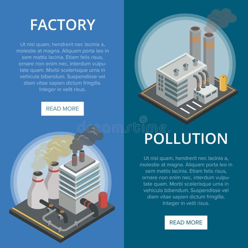 De isometrische verticale vliegers van de verontreinigingsindustrie royalty-vrije illustratie