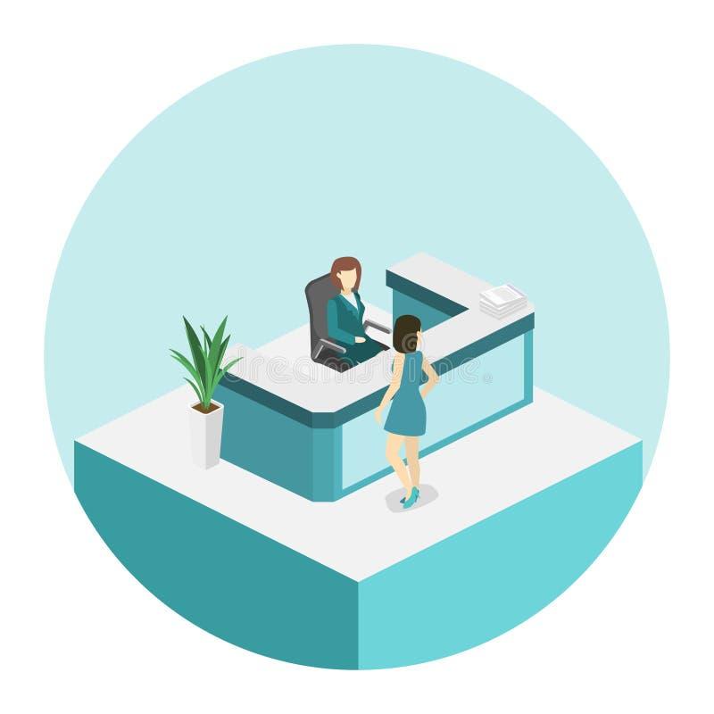 De isometrische vlakke 3D wachtkamer van de schema binnenlandse Tandheelkunde Tand kliniek royalty-vrije illustratie