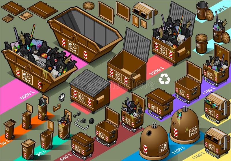De isometrische vochtige container van het afvalhuisvuil royalty-vrije illustratie