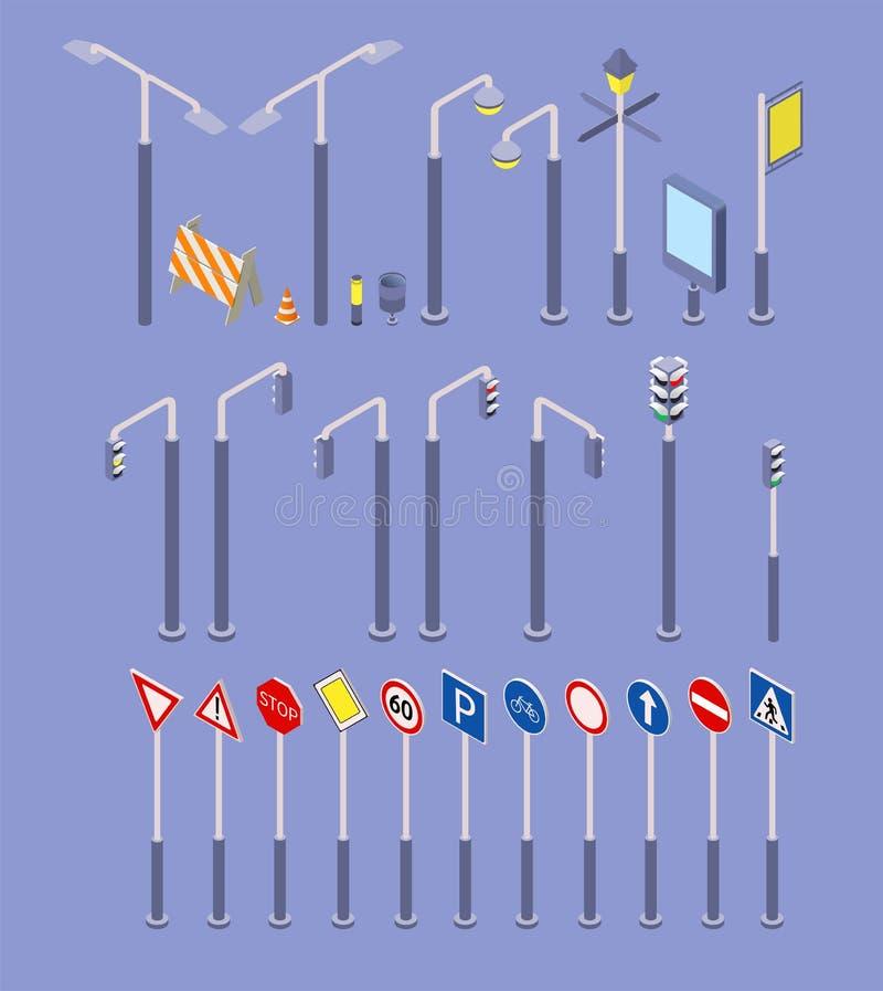 De isometrische weg heeft geplaatste pictogrammen bezwaar De tekens van de verkeersstraat, steekt, illustratie van het teken van  vector illustratie