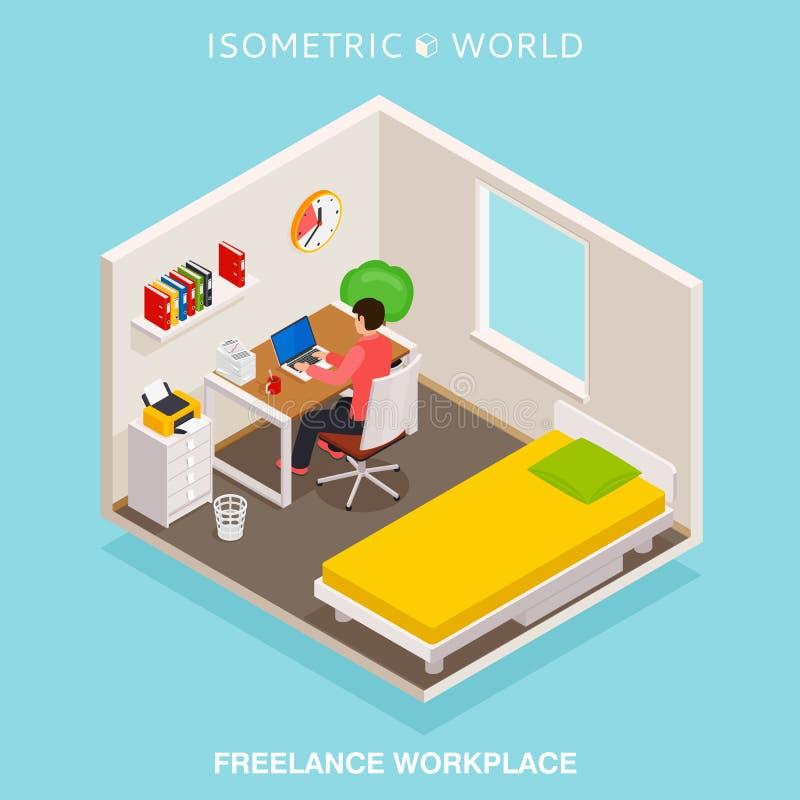 De isometrische werkplaats van het huisbureau Concepten freelance werkruimte royalty-vrije illustratie