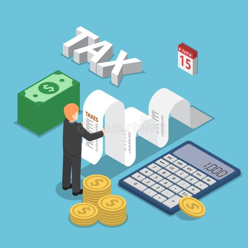 De isometrische zakenman berekent document voor belastingen royalty-vrije illustratie