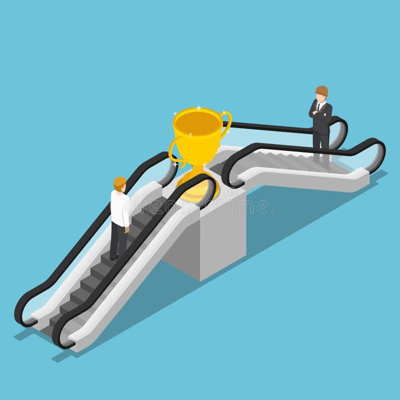 De isometrische zakenman gebruikt een roltrap om winnaartrofee te bereiken vector illustratie