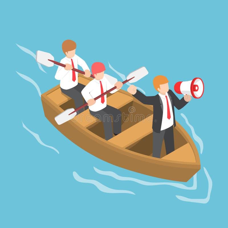De isometrische zakenman in roeiend team met leidersbevel en bedriegt royalty-vrije illustratie