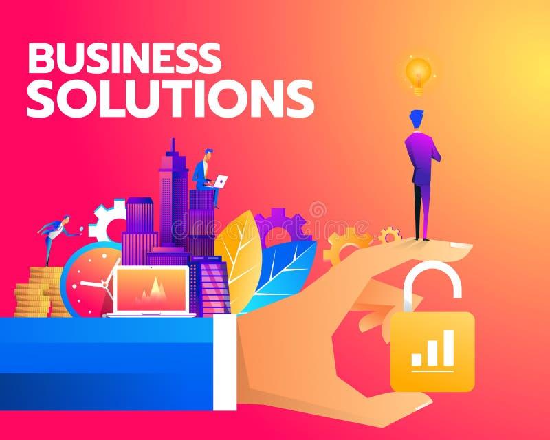 De isometrische zakenman status opent slot, bedrijfsoplossing, sleutel aan succes en groepswerkconcept stock illustratie