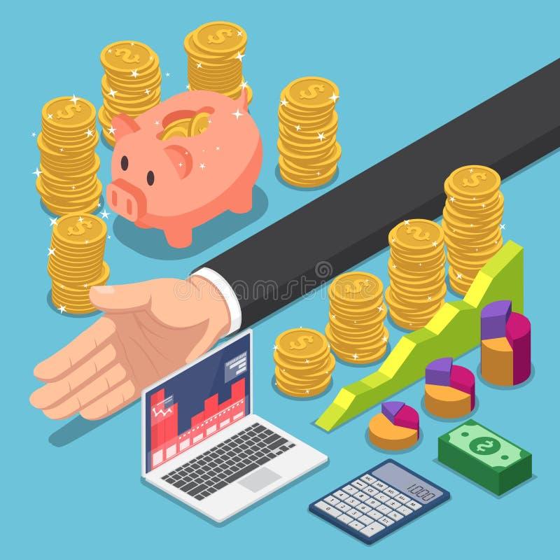 De isometrische zakenman verdeelt het geld voor besparing en het investeren royalty-vrije illustratie