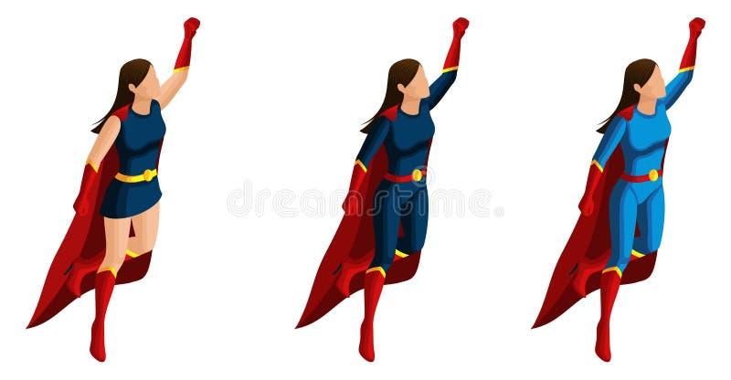 De Isometryreeks superheromeisjes in kostuums, vliegt omhoog, meesleept aan de redding, 3D karakters, helden, redders Vector illu royalty-vrije illustratie