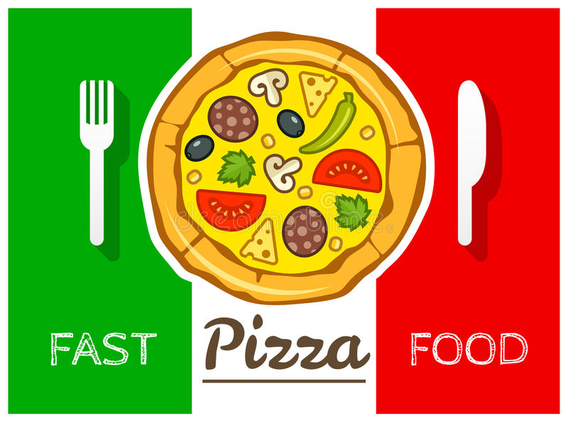 De Italiaanse vector van het pizza snelle voedsel royalty-vrije illustratie