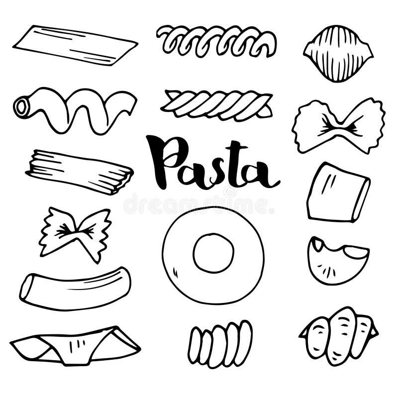 De Italiaanse vectorschetsen van de Deegwareninzameling Getrokken hand stock illustratie