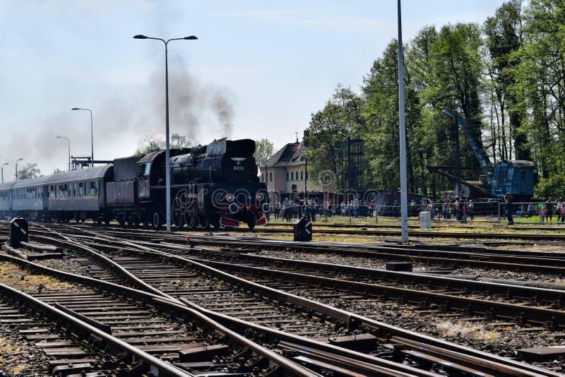 De jaarlijkse parade over stoomlocomotieven in Wolsztyn, Polen royalty-vrije stock afbeeldingen