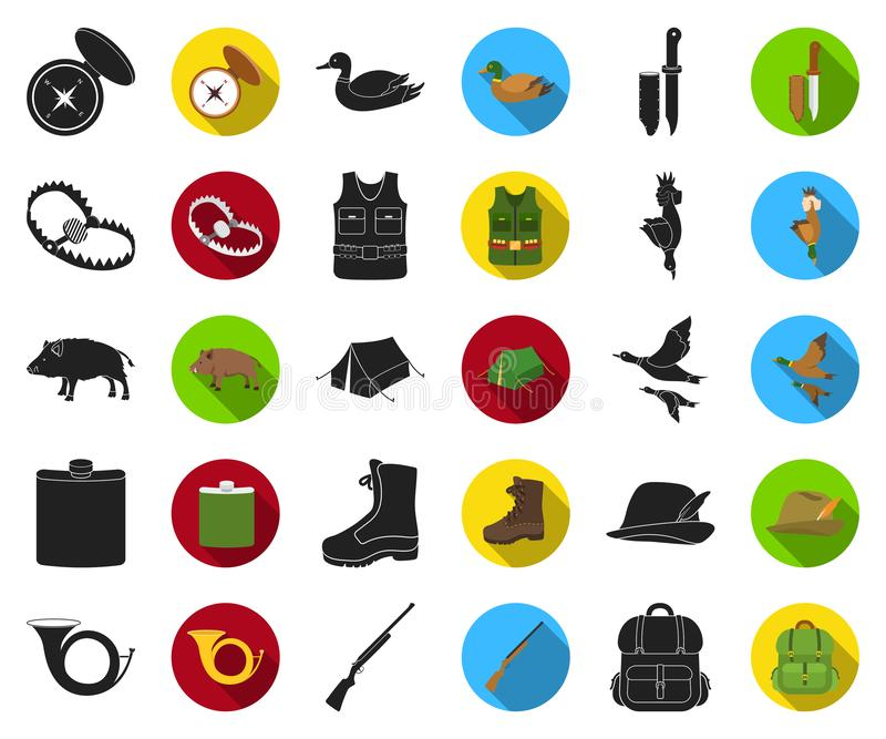 De jacht en trofee zwarte, vlakke pictogrammen in vastgestelde inzameling voor ontwerp De jacht en de voorraadweb van het materia stock illustratie