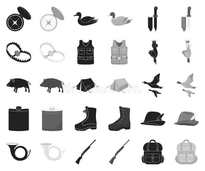 De jacht en trofee zwarte, zwart-wit pictogrammen in vastgestelde inzameling voor ontwerp De jacht en de voorraadweb van het mate stock illustratie