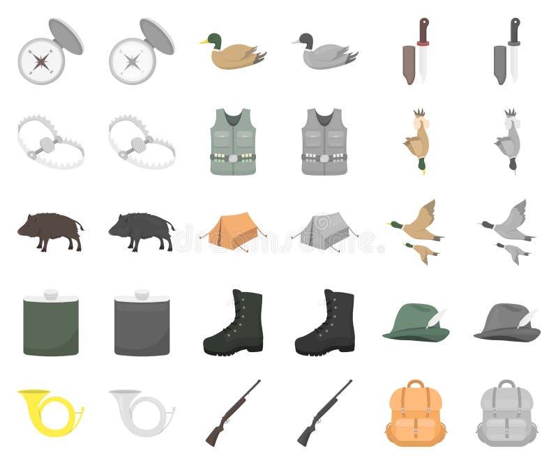 De jacht en trofeebeeldverhaal, monochrom pictogrammen in vastgestelde inzameling voor ontwerp De jacht en de voorraadweb van het vector illustratie