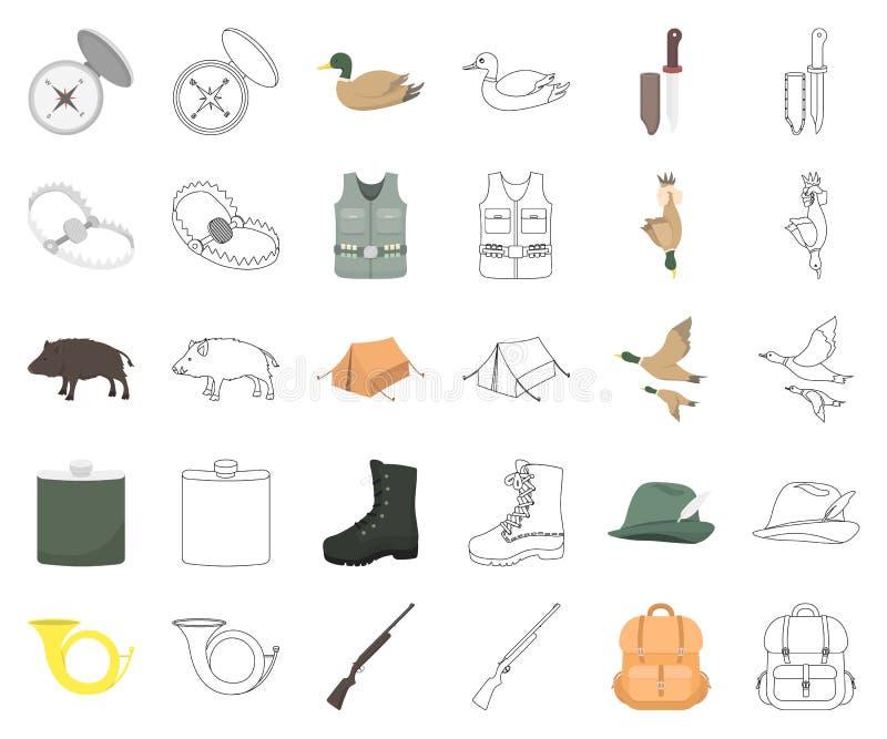 De jacht en trofeebeeldverhaal, overzichtspictogrammen in vastgestelde inzameling voor ontwerp De jacht en de voorraadweb van het stock illustratie