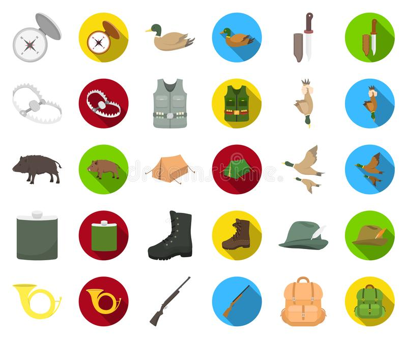 De jacht en trofeebeeldverhaal, vlakke pictogrammen in vastgestelde inzameling voor ontwerp De jacht en de voorraadweb van het ma stock illustratie