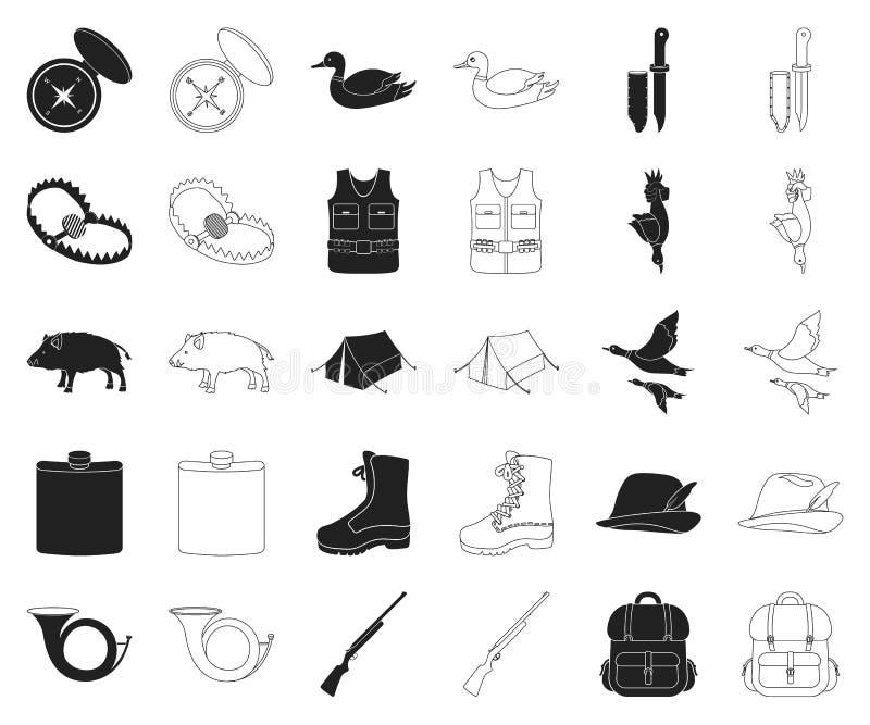 De jacht en trofeezwarte, overzichtspictogrammen in vastgestelde inzameling voor ontwerp De jacht en de voorraadweb van het mater royalty-vrije illustratie