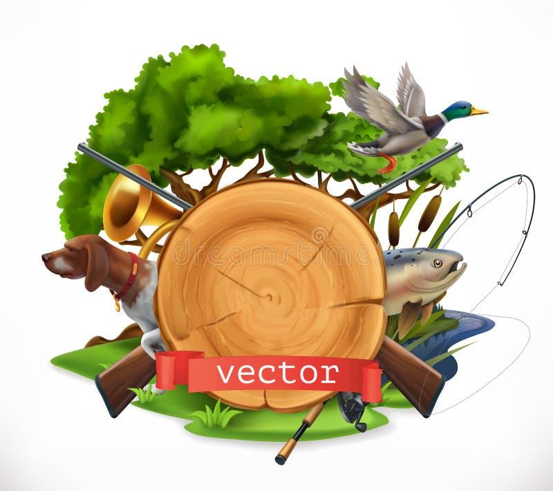 De jacht en Visserij 3d vectorembleem royalty-vrije illustratie