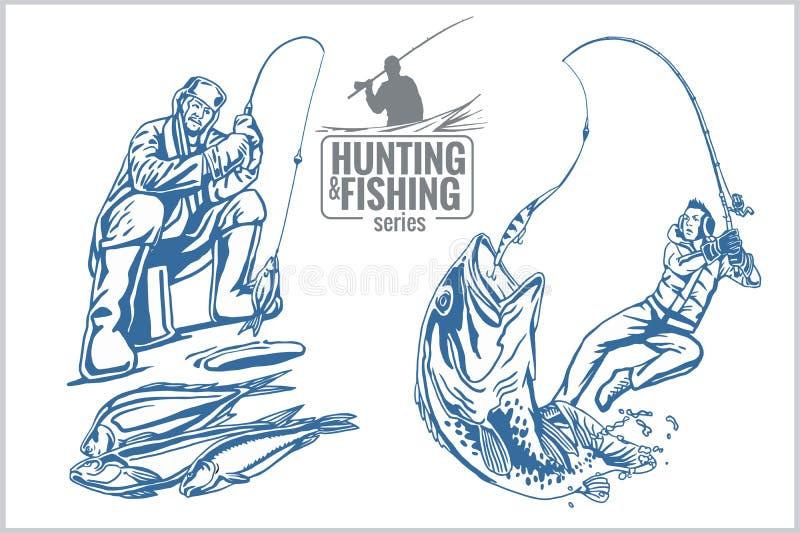 De jacht en visserij uitstekend embleem royalty-vrije illustratie