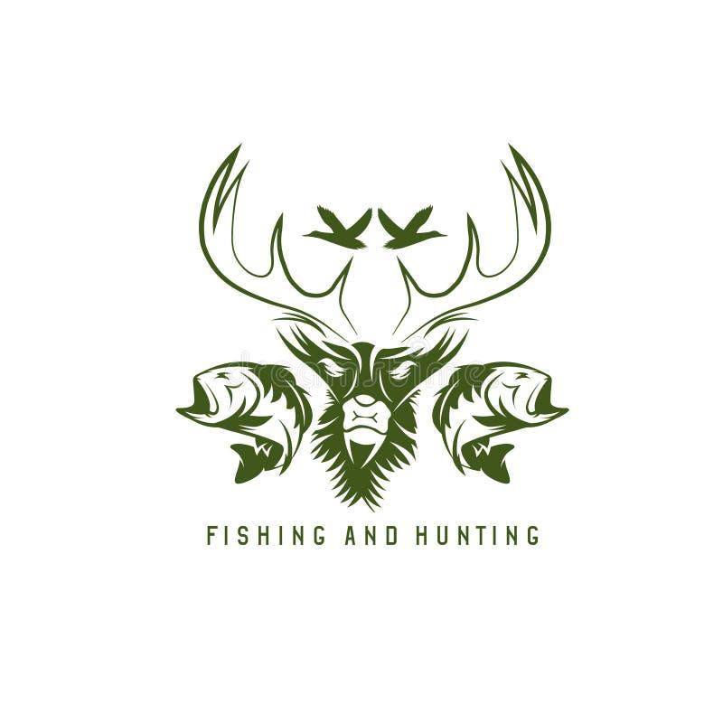 De jacht en visserij uitstekend embleem vectorontwerp stock illustratie