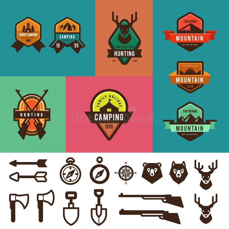De jacht het Kamperen Uitstekend Etiketten vectorontwerp Touri royalty-vrije illustratie