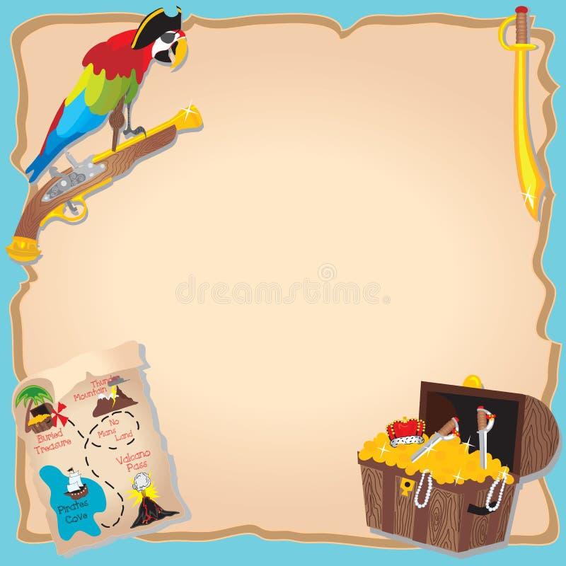 De jacht Invitatio van de Partij en van de schat van de Verjaardag van de piraat stock illustratie