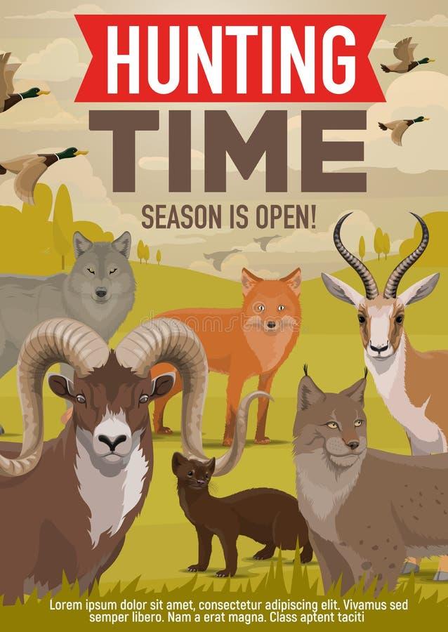 De jacht open seizoen, boswilde dieren en vogels stock illustratie