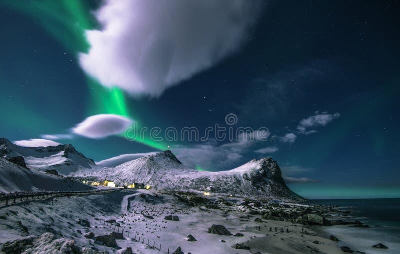 De jacht van Aurora Borealis royalty-vrije stock fotografie